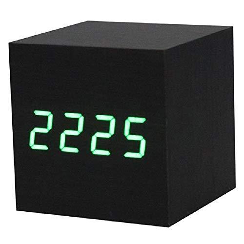 Wandklok Beste wekker Digitaal hout tafel met USB-poort AAA batterijen zwart groen Zwart Groen