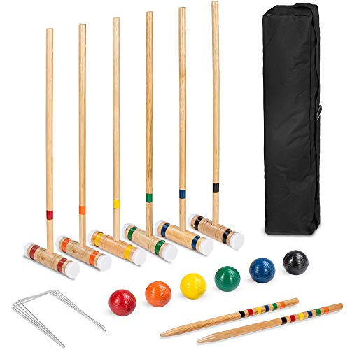 Best Choice Products 6-Player 32in Wood Croquet Game Set, Classic Yard Sport for Backyard, Park w/ 6 Mallets, 6 Balls, Wickets, Stakes, Carrying Bag - Multicolor