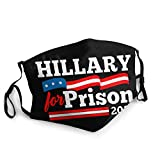 Hillary Clinton for Prison 2020 Soft Breathable Water Repellent Washable Adjustable Tightness Face Masks Black