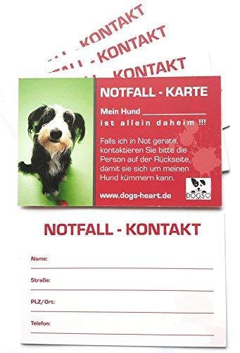 DOGS-HEART Notfallkarte Hund allein zu Hause - Bei Unfall oder Notfall Wird Dein Hund versorgt (5er-Set)…