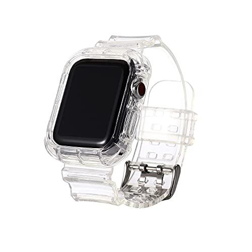 Hspcam Correa de silicona transparente compatible con Apple Watch Series Se 6, 5, 4, 3, 2, 40 mm, 44 mm, para Iwatch Se 5, 4, 3, correa impermeable, 38 mm, 42 mm, 40 mm, blanco transparente)