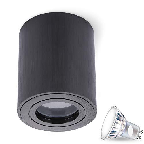 MILANO IP44 7W LED GU10 fitting 230V (hoekig/rond, B S W) spotlight plafondlamp kubuslamp CUBE kroonluchter van aluminium spot