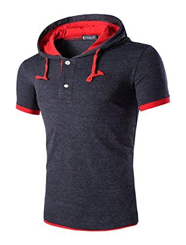 Uxcell Homme Couleur Contrastée Manches Courtes Cordon T-Shirt à Capuche Gris foncé 44