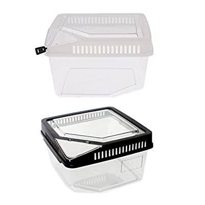 SM SunniMix 2 Stück Terrarium Fütterungsbox Transportbox für Reptilien und Amphibien, 17,7x15,5x11cm