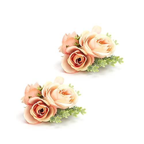Flor de muñeca de boda, diseño elegante Alto grado de simulación Flores artificiales para fiesta para festival para boda(naranja)