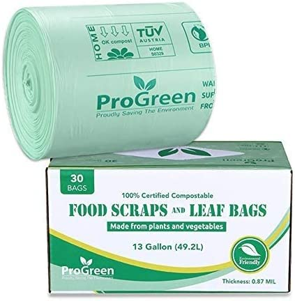 ProGreen 100% Compostable Bags 13 Gallon, Extra Thick 0.87 Mil, 30 Count, Small Kitchen Compost Trash Bag, Food Scraps Yard Waste Bags, Compost Biodegradable ASTM D6400 BPI and VINCOTTE Certified