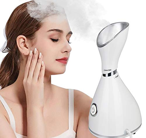 Facial Steamer Nano Ionic,Lumcrissy Moisturizing Face Steamer Humidifier,Unclogs Pores Clear Blackheads Acne Humidifier Home Personal Vaporizer (white)