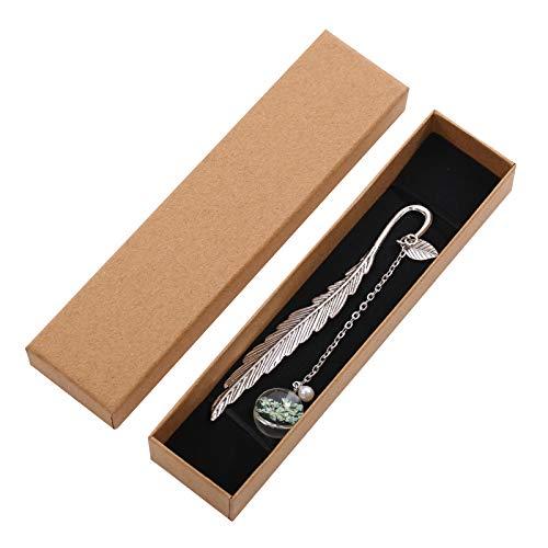 PUMYPOREITY Marcapáginas de metal con plumas vintage con cuentas de cristal y colgante de flores secas para regalo para lectoras mujeres y niños