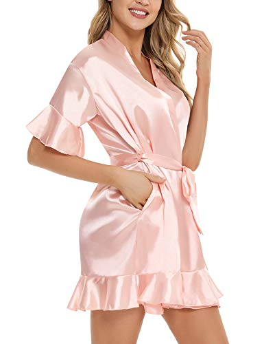 Hawiton Damen Morgenmantel Bademantel Satin Kimono mit Taschen Kurz Robe mit Gürtel Nachthemd für Polyester Nnachthemd Pink Frauen Roben
