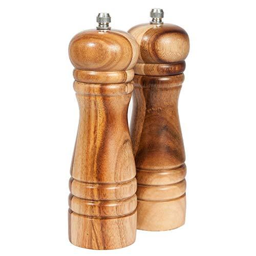 DeroTeno Pfeffermühle und Salzmühle Set, Gewürzmühlen 2er-Set, Salz und Pfeffer Mühle aus Akazienholz mit Keramikmahlwerk, H 16,5 cm