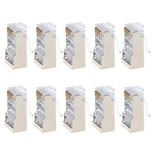 10 unidades Cat6 8 pines RJ45 8P8C blindado, conector modular hembra de cable Ethernet