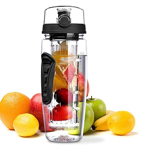 LUCKYMO Sport Fruit Water Bottle, Fruit Water Bottle, BPA Free, Flip Top Lid & Dual Anti-Slip Grips, 32oz, for Camping Workouts, Gym, Outdoor Activity