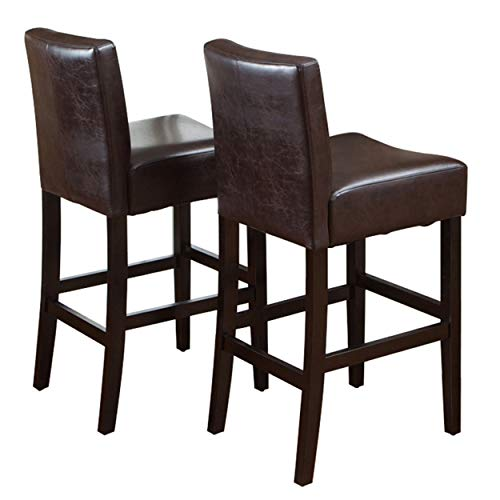 Christopher Knight Home Lopez Leather Bar Stools, 2-Pcs Set, Brown