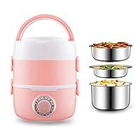 3つのステンレススチール製容器、ポータブル食品スチーマー、オフィスのための加熱可能なランチボックス小型ヒーター食品ウォーマー付き電動ランチボックス (Color : ピンク)