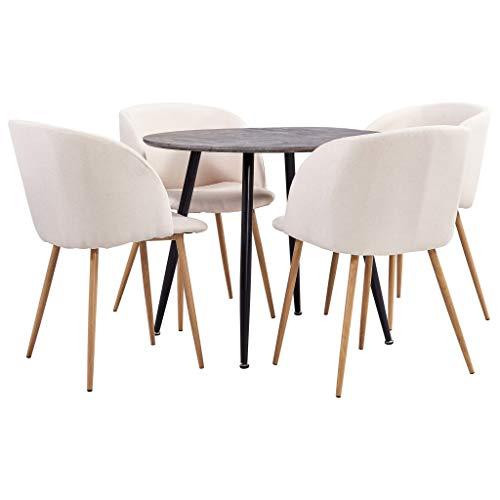 vidaXL Juego de Comedor 5 Piezas Set Conjunto de Muebles Asientos Sillas Sofás Mesa Decoración Cocina Salón Sala Casa Hogar Interior Tela Crema