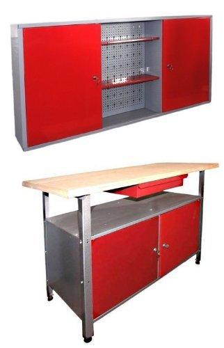 Werkstatteinrichtung, Ordnungssystem bestehend aus einer Werkbank und einem Werkstattschrank