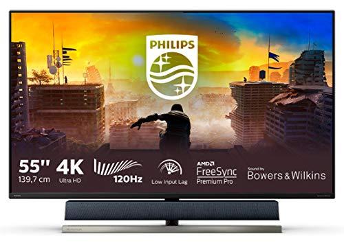 "Philips 558M1RY 55"" Console Gaming Monitor, Freesync 120 Hz, Audio Bowers & Wilkins, 4K, HDR 1000 Certificato, Ambiglow, Low Input Lag, Multiview, Display Port, 3 HDMI, Hub USB, Telecomando, Vesa"