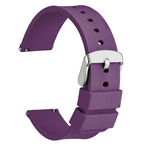 WOCCI 14mm Silikon Uhrenarmband mit Edelstahl Silberne Schnalle, Schnellverschluss Ersatzarmband (Lila)