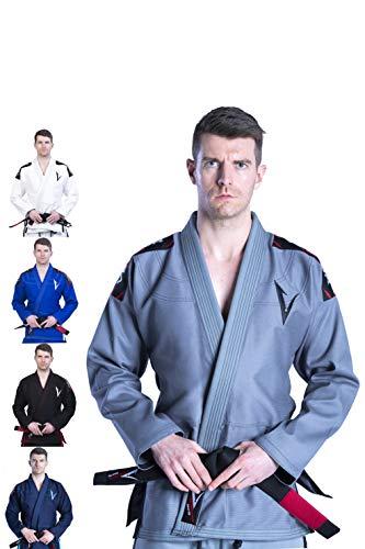 Vector Herren BJJ Gi mit weißem Gürtel und Ripstop-Hose für Brazilian Jiu Jitsu, Karate und Judo, Kimono-Stil, grau, A2
