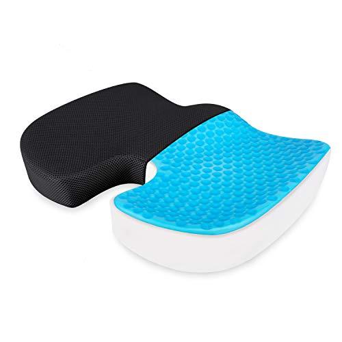 HOMFY Orthopädisches Sitzkissen mit Gel, Memory Foam mit Abnehmbarer Kissenbezug, Ergonomisch Sitzkissen für Büro, Rollstuhl & Auto (schwarz)