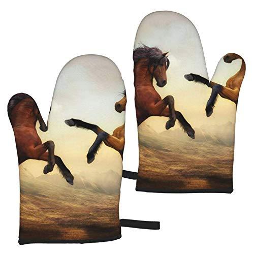 VBHGHFF Guantes de horno de caballo saltador, guantes de moda para microondas, barbacoa, horno, horno, ollas de cocina, resistentes al calor (juego de 2 manojos)