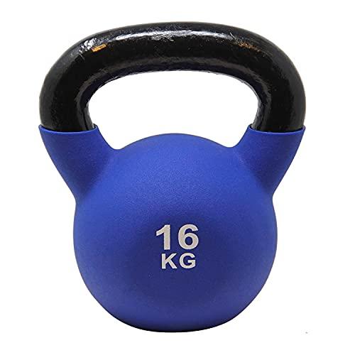 POWRX Kettlebell néoprène I Haltère léger/Poids 16 kg (Bleu foncé)