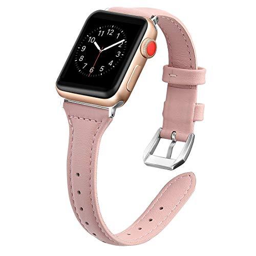 ZHIWEI Smart Wear Kompatibel mit IWATCH-Band 38mm 40mm 42mm 44mm, echtes Lederband dünnes Ersatz-Armband für Apple Watch SE & Series 6/5/4/3/2/1 (Color : Rose red-38MM/40MM)