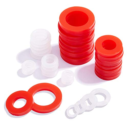 """Litorange 190 PCS Mixed Silicone O Ring Sealing Gasket Washers, 6 Different Size,Made from Soft Silicone (Better Sealing Than Rubber) Used for 3/4"""",1/2"""",3/8"""",1/4"""",1/8"""" Fittings & Valve,Plugs Etc"""