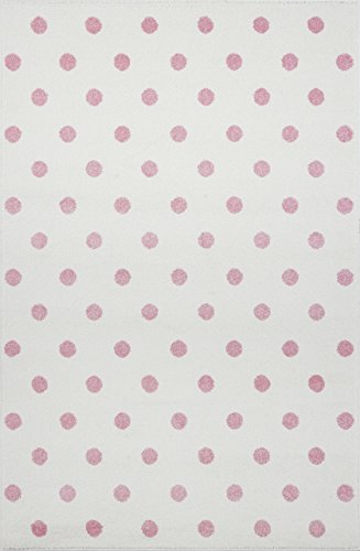 Livone Kinderzimmer Baby Kinderteppich Punkte Kreise in Creme rosa Größe 100 x 150 cm