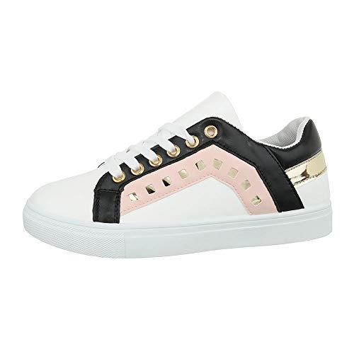 Ital-Design Damenschuhe Freizeitschuhe Sneakers Low Synthetik Weiß Rosa Gr. 40