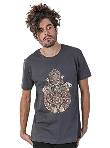 Hamsa Herren T-Shirt 100% Bedruckt mit exklusivem Psychodelischem Design - in Grau - XL