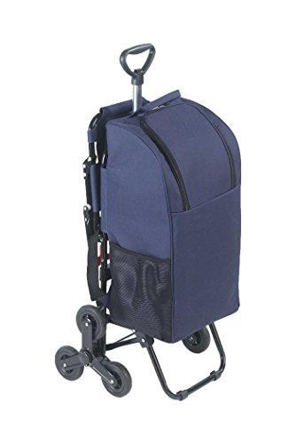 WENKO Einkaufstrolley mit Sitz - Dreirad-System fürs Treppensteigen Fassungsvermögen: 35 l, Aluminium, 36.5 x 103 x 65 cm, Silber matt