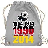Shirtracer Fußball-Europameisterschaft 2020-1954, 1974, 1990, 2014 - WM 2018 Weltmeister Deutschland - Unisize - Hellgrau - turnbeutel wm - WM110 - Turnbeutel und Stoffbeutel aus Baumwolle