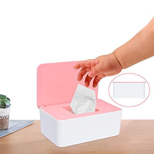 Yisscen Tejido Caja para Toallitas, Caja para Toallitas Húmedas Con cubierta Caja de Almacenamiento de Pañuelos a Prueba de Polvo Dispensador De Toallitas Húmedas para Bebés para Hogar (Rosa)