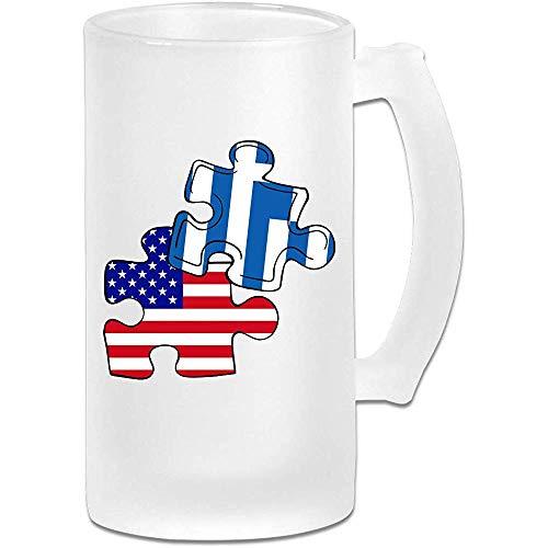 Griekse Griekse Amerikaanse vlag puzzel stuk Frosted glas Stein bier mok, pub mok, drank mok, geschenk voor bier Drinker, 500Ml (16.9Oz)