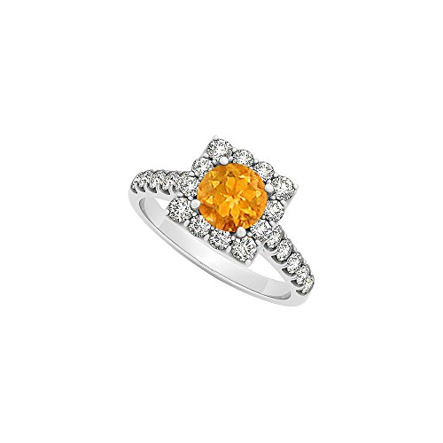Four Prong Set Citrine With Cubic Zirconia Square Halo Engagement Ring