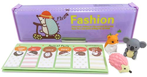 Kawaii Hedgehog Double-Sided Pen Pencil Case with Page Markers Stickers (90) and 3 Japanese Mini Puzzle Erasers (Perfect 5 Piece Set for Kids)