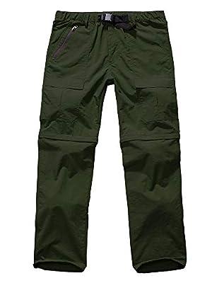 Men's Hiking Pants Zip Off Convertible Quick Dry Lightweight Outdoor Fishing Travel Safari Pants (6062 Army Green 42)