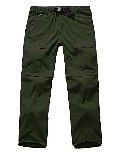 Men's Hiking Pants Zip Off Convertible Quick Dry Lightweight Outdoor Fishing Travel Safari Pants (6062 Army Green 42)
