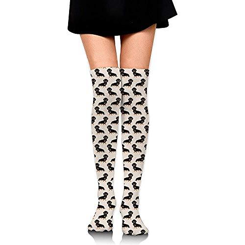 ulxjll Sportliche Socken Wiener Dog Doxie Dackel Weiner Pet Dogs Teens Overknee High Socks Cosplay Strumpf Frauen Mädchen Oberschenkel Hohe Socken Dünne Tube Socke 60Cm
