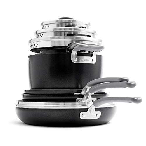 GreenPan Levels Essential Stackable Ceramic Cookware Set, Pots and Pans, 10-Piece, Black