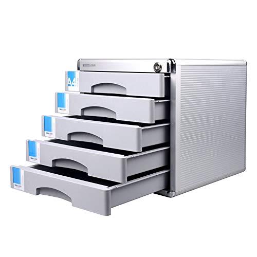 Speichermodul Aktenschrank Multi-Funktions-Filing Cabinet File Organizer Halter Schreibtisch-Organisator Bürobedarf mit 5 Schubladen für Büro, Home Office ( Color : Silver , Size : 300x360x305mm )