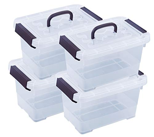 Livable 6 Quart Clear Plastic Latch Storage Box, with Black Handle/Latches/lid Storage Bin, 4-Pack