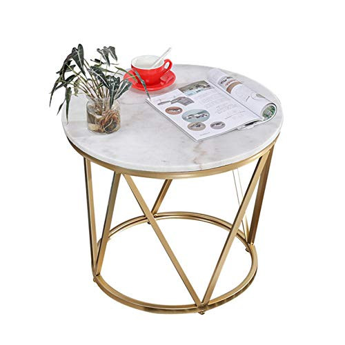 Yingm Home Decoration Home Decoration Marble Modern Round Accent Side Coffee Table Metal Frame Popular Coffee Table (Color : White, Size : 60x60x50cm)