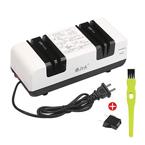 Messerschleifer Kecheer elektrischer Messerschärfer Multifunktionale automatische Schneidschärfer mit 15-Grad-Abschrägung und feinen Rillen Scheren Küchenschneider mit 3 austauschbaren Schleifscheiben