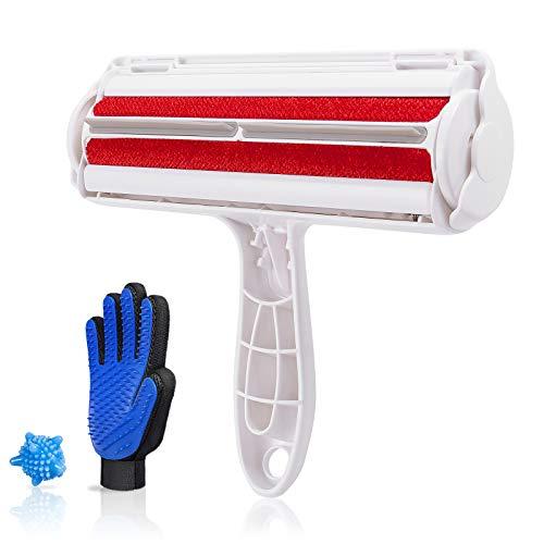 MIKKUPPA 3PCS Fusselbürste für Haustier, Fellpflege Handschuh, Tierhaarentferner Waschmaschine - Fusselrolle für Hundehaare und Katzenhaare