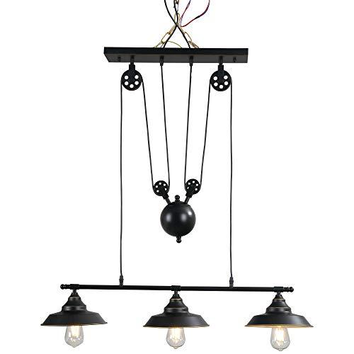 HOMCOM Hängeleuchte Deckenlampe Deckenstrahler Industrie Vintage E27 Küche Bar Wohnzimmer Schlafzimmer Metall Schwarz 90 x 22 x 89-180 cm (ohne Birne)