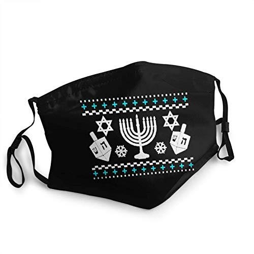 Adult Cloth Face Mask Funny Hanukkah Ugly Holiday Face Masks Reusable Balaclava for Outdoor