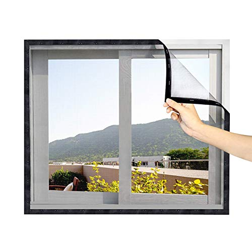 Durable Fiberglass Window Mesh Curtain with Full Frame Magics Tape Black Frame Gray Net Anti Mosquito,Magnetic Window Screen 80x100cm(31x39in)