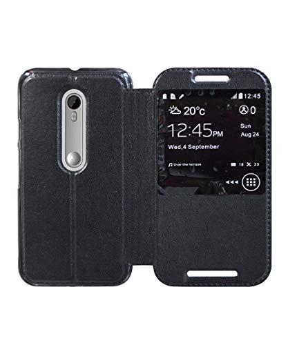 COVERNEW Window Flip Cover for Motorola Moto G3 (3rd Generation) XT 1550 - Venom Black WindowFlip-MotoG3_Black